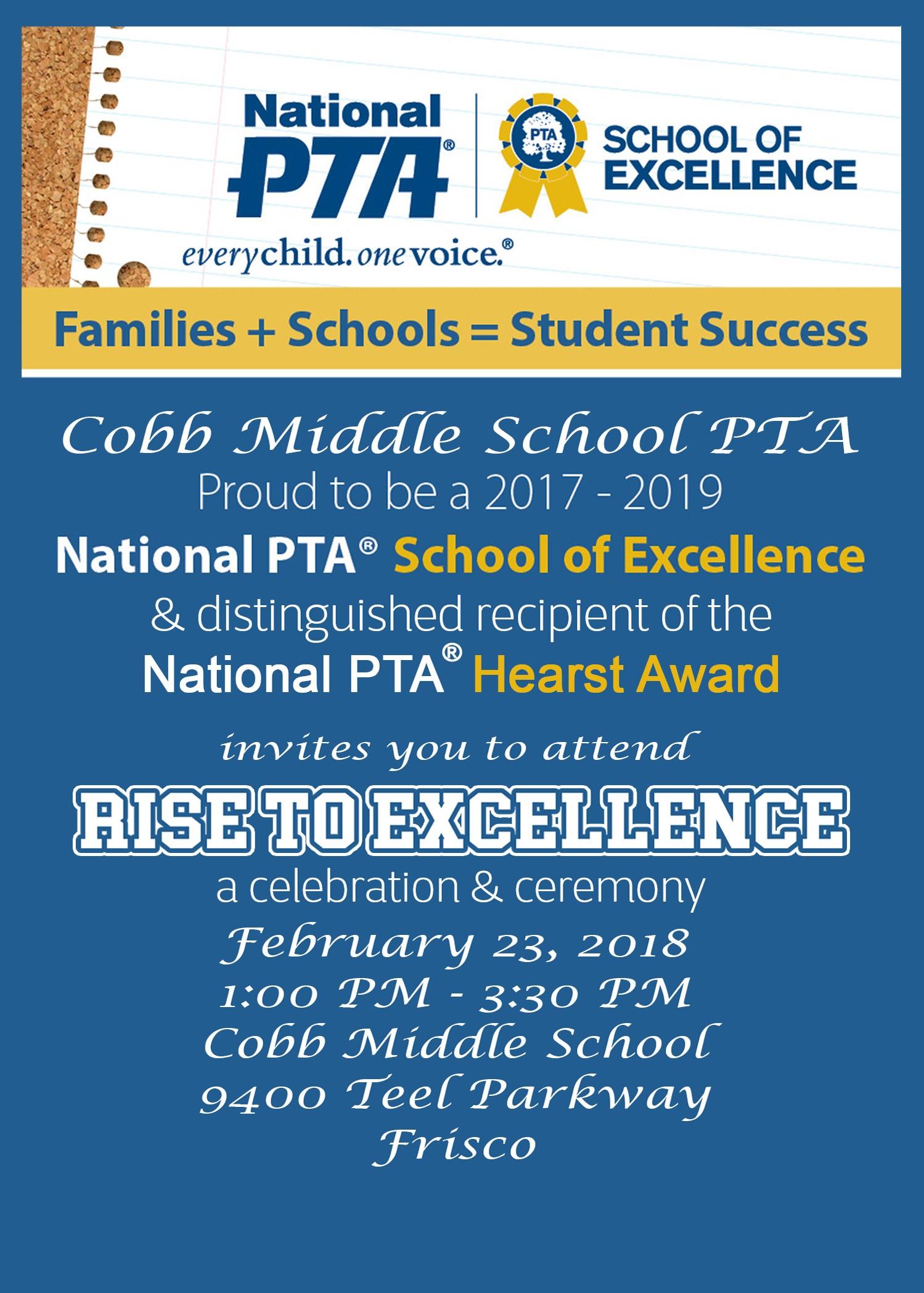 School of excellence celebration kit programs national pta cobb middle school ptas school of excellence and phoebe apperson hearst celebration altavistaventures Images